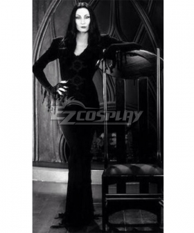 The Addams Family Morticia Addams Black Dress Halloween Cosplay Costume