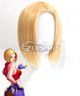 The King Of Fighters KOF Blue Mary Golden Cosplay Wig