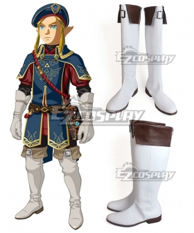 The Legend Of Zelda: Breath Of The Wild Link Royal Guard DLC White Shoes Cosplay Boots