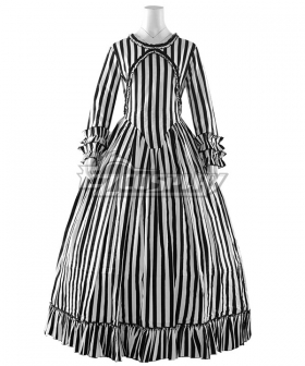 The Nightmare Before Christmas Female Jack Skellington White Dress Halloween Cosplay Costume