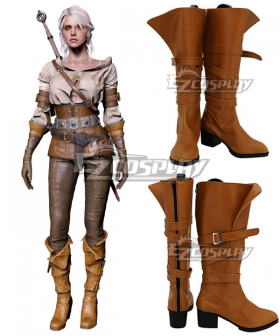 The Witcher 3 Wild Hunt Cirilla Brown Shoes Cosplay Boots - B Edition