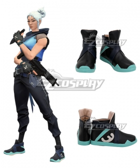 Valorant Jett Black Blue Cosplay Shoes