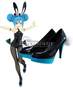Vocaloid Hatsune Miku Black Bunny Girl Black Rabbit Black Cosplay Shoes