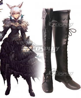 Final Fantasy XIV Shadowbringers 5.0 FF14 Y'shtola Rhul Yshtola Rhul Black Shoes Cosplay Boots