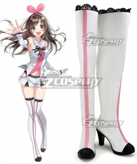 YouTuber Kizuna AI A.I.Channel A.I.Games White Pink Shoes Cosplay Boots