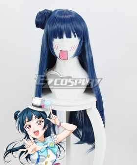 Love Live! Sunshine!! Yoshiko Tsushima Blue Cosplay Wig 348V