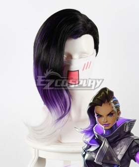 Overwatch OW Sombra ░░░░░░ Black Purple Cosplay Wig