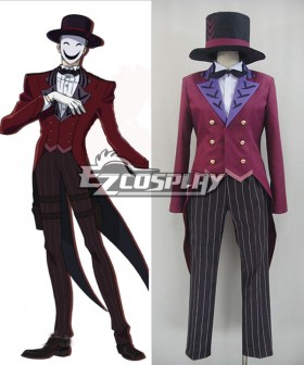 Black Bullet Kagetane Hiruko antagonist Promoter  Initiator White Smile Mask Man Cosplay Costume - Only the Red Tail Coat
