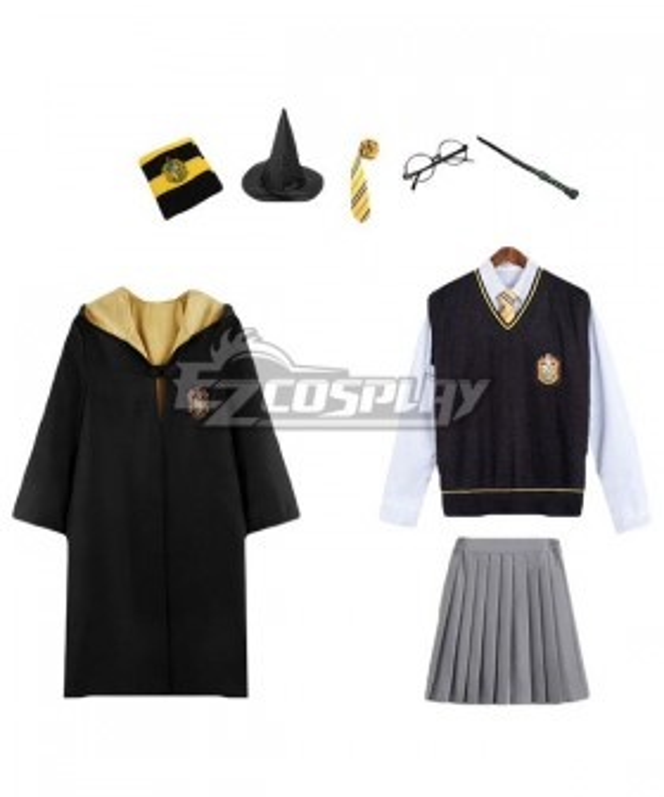 Kid Size Harry Potter Hufflepuff School Uniform Female Halloween Cosplay Costume