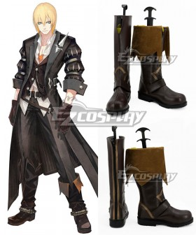 Tales of Berseria Reaper Eizen Deep Brown Shoes Cosplay Boots