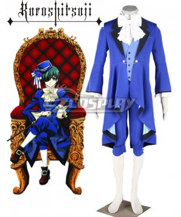 Black Butler Kuroshitsuji Ciel Phantomhive Blue Suit Cosplay Costume