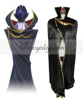 Code Geass Lelouch Zero Black Cloak Cosplay Costume