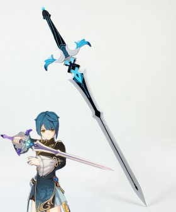 Genshin Impact Kaeya Traveler Jean Keqing Qiqi Xingqiu Sacrificial Sword Cosplay Weapon Prop