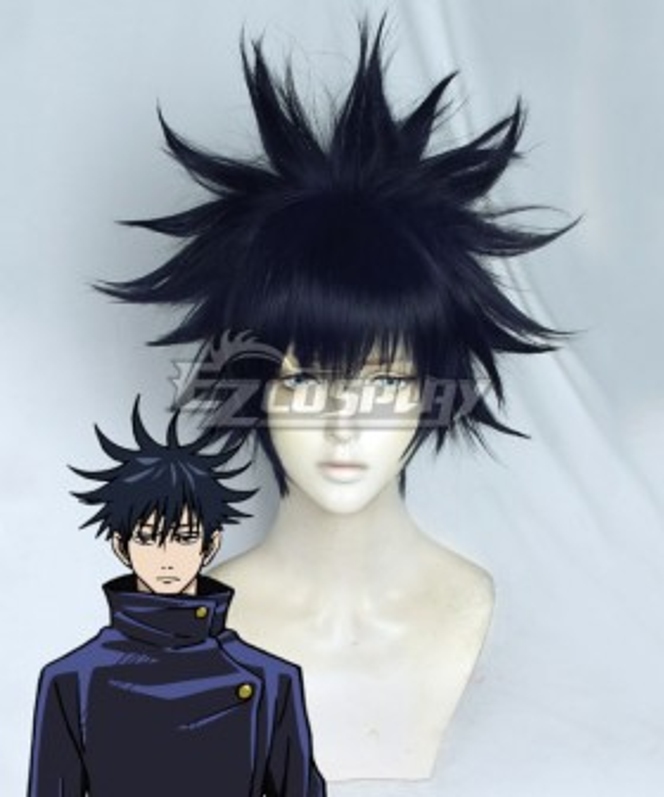Jujutsu Kaisen Sorcery Fight Megumi Fushiguro Black Blue Cosplay Wig