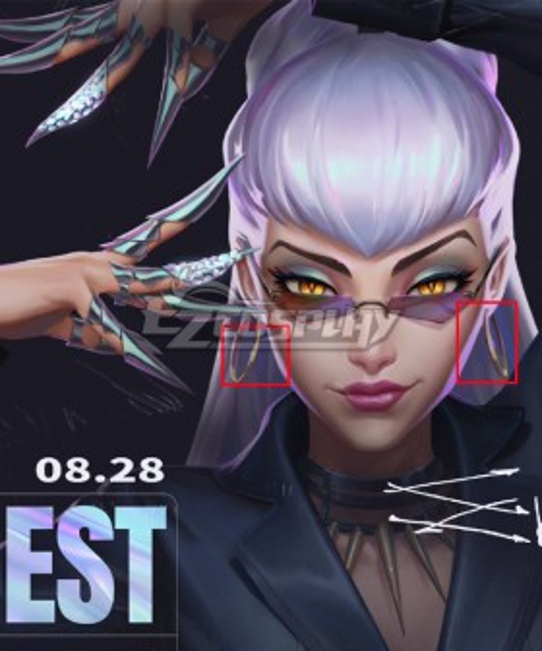 League Of Legends LOL 2020 KDA K/DA Evelynn Earring Accessory Prop