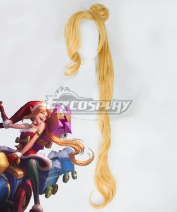 League Of Legends LOL Ambitious Elf Jinx Christmas Golden Cosplay Wig