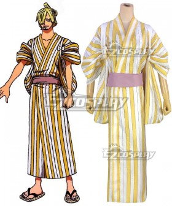 One Piece Wano Country Arc Sanji Vinsmoke Kimono Cosplay Costume