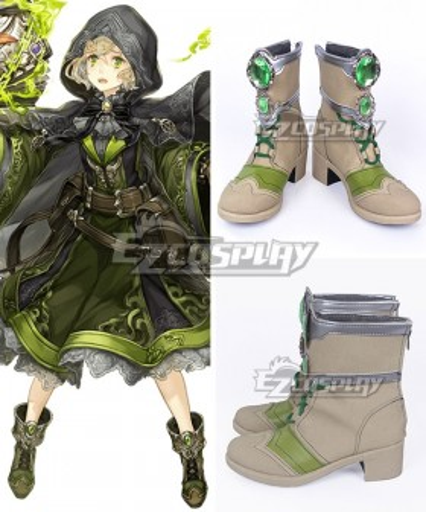 SINoALICE Pinocchio Green Khaki Cosplay Shoes