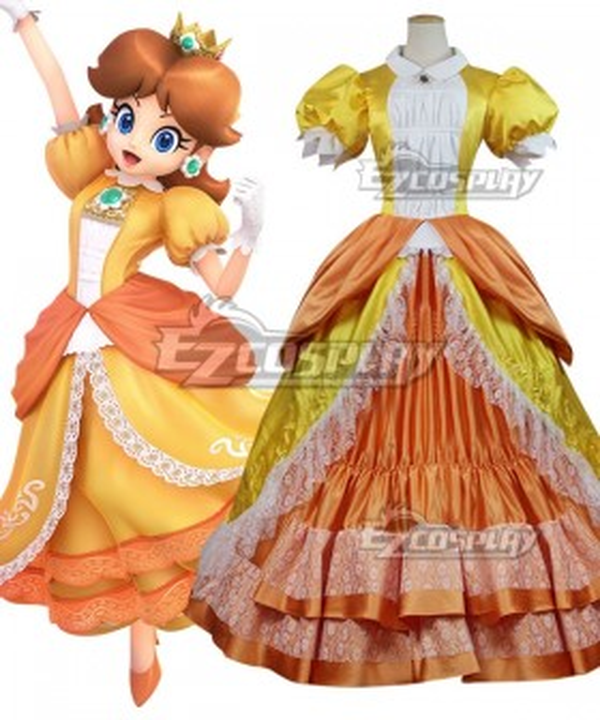 Super Smash Bros. Super Mario Princess Daisy Cosplay Costume