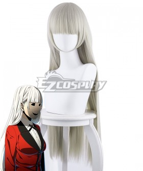 Kakegurui Compulsive Gambler Ririka Momobami Light Grey Cosplay Wig - 441D