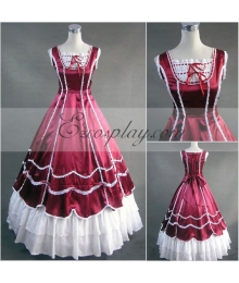 Red Sleeveless Gothic Lolita Dress-LTFS0107