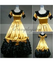 Yellow Short Sleeve Gothic Lolita Dress-LTFS0011