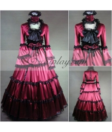 Red Long Sleeve Gothic Lolita Dress-LTFS0016