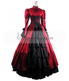 Red Long Sleeve Gothic Lolita Dress-LTFS0017