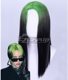 Billie Eilish Green Black Cosplay Wig