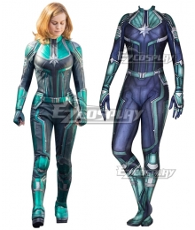 2019 Movie Captain Marvel Carol Danvers Printed Zentai Jumpsuit Cosplay Costume