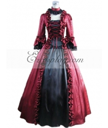 Red Long Sleeve Gothic Lolita Dress-LTFS0021