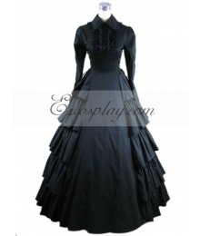 Black Long Sleeve Gothic Lolita Dress-LTFS0022