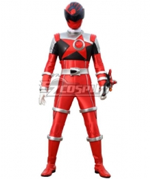 Power Rangers Uchu Sentai Kyuranger Shishi Red Cosplay Costume
