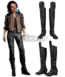 Cyberpunk 2077 V Female Black Long Shoes Cosplay Boots