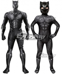 Kids Marvel Black Panther 2018 Movie T'Challa Black Panther Zentai Jumpsuit Cosplay Costume