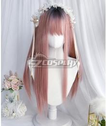 Japan Harajuku Lolita Series Honey Peach Pink Black Cosplay Wig