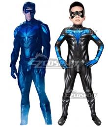Kids DC Titans season 2 Nightwing Zentai Jumpsuit Cosplay Costume