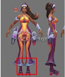 League of Legends LOL Space Groove Samira Purple Shoes Cosplay Boots