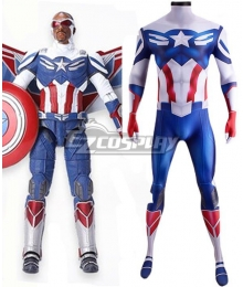 Marvel The Falcon and the Winter Soldier Sam Wilson Captain America Jumpsuit Zentai Cosplay Costume