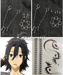 Horimiya Hori-san to Miyamura-kun Izumi Miyamura Ear Clips Earrings Lip studs Tattoo stickers Cosplay Accessory Prop