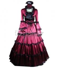 Women Girls Gothic Lolita Long Sleeves Classic Lolita Dress Rose Red Dress Costume 1M