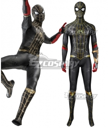 Marvel Spider-Man 3 No Way Home Spider Man 3 Peter Parker Black and Gold Suit Jumpsuit Zentai Halloween Cosplay Costume