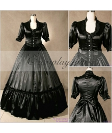 Blackish Short Sleeve Gothic Lolita Dress-LTFS0039