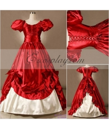 Red Short Sleeve Gothic Lolita Dress-LTFS0055