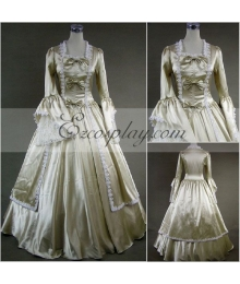 Silvery  Long Sleeve Gothic Lolita Dress-LTFS0056