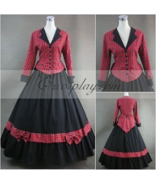 Red Lattice Long Sleeve Gothic Lolita Dress-LTFS0066