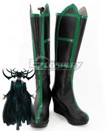 Marvel Thor 3 Ragnarok Trailer Hela Black Green Shoes Cosplay Boots