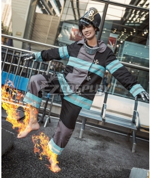 Fire Force Enen no Shouboutai Shinra Kusakabe Battle Suit Top Pants Cosplay Costume