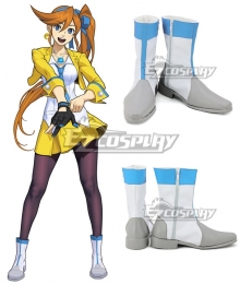 Ace Attorney Gyakuten Saiban Athena Cykes White Blue Shoes Cosplay Boots