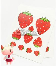 Animal Crossing: New Horrizon Merengue Rhino Strawberry Tattoo Stickers Cosplay Accessory Prop